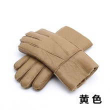 Mens Winter Leather Gloves New 2018 Warm Men Long Real Fur Cashmere Genuine Wool N21