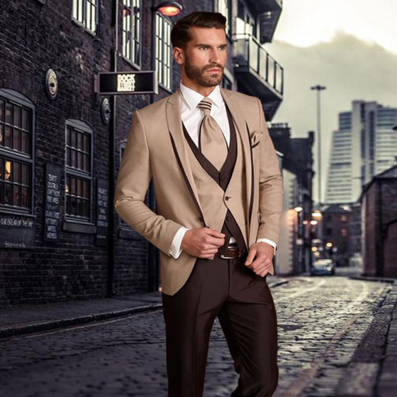 Custom Made Beige Brown Men Suit Set (Jacket+Pants+Vest) Groomsmen Tuxedo Groom Wedding Suit Men Suits Regular Fit Costume Homme