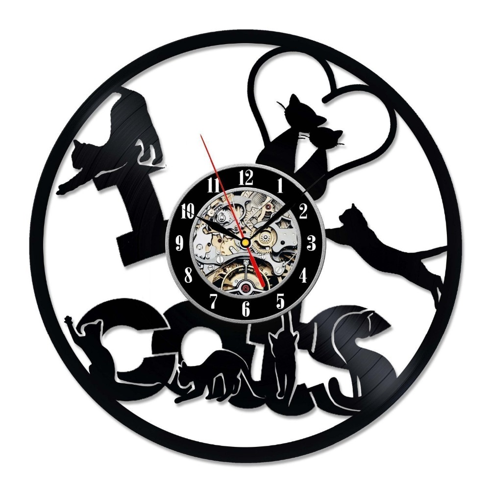 little cats love vinyl record wall clock decorate your