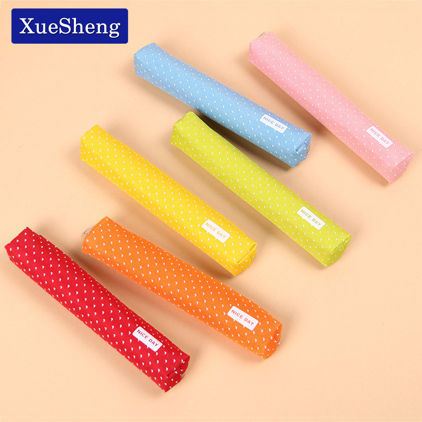 2 PCS Cute Candy Color Pencil Case Kawaii Dot Canvas Pen Bag Stationery Pouch for Girls Gift Office School Supplies