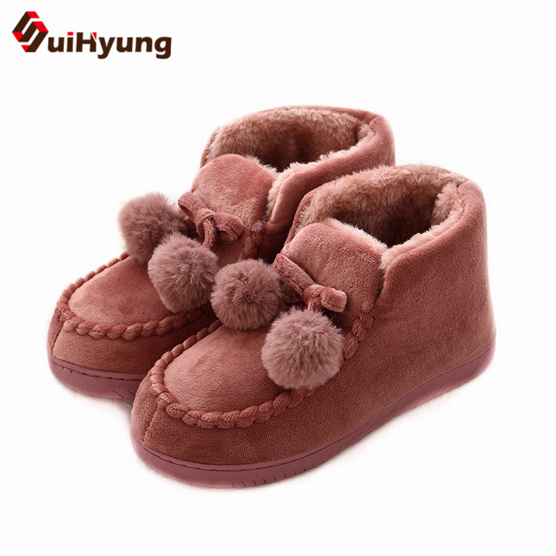 Suihyung Winter Warm Snow Boots Women Cotton Shoes Flat Platform Ankle Boots Woman Short Plush Casual Slip On Thermal Fur Shoes suede plush women snow boots 2018 winter shoes woman platform fur lined short botines mujer flat ankle boots botas femininas
