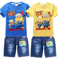 The new boy pet clothing retail cartoon T-shirt and jeans fashion sports suit for children