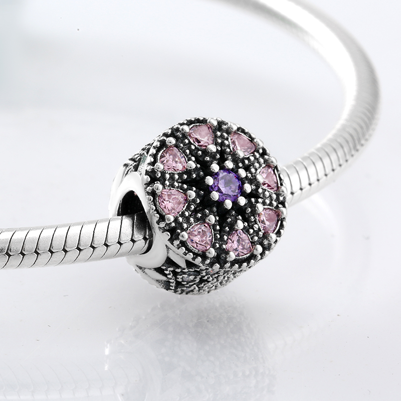 925 Sterling Silver eight pink and a purple CZ beads fashion accessories Fit Original Pandora Charm Bracelet Jewelry making