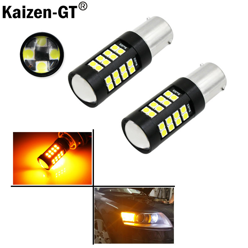 iJDM Amber Yellow 44-SMD-3030 7507 PY21W Canbus LED Replacement Bulbs For BMW F22 F30 F32 2 3 4 Series Front Turn Signal Lights ijdm no hyper flash bau15s 7507 white amber switchback led bulbs w reflector mirror design for front turn signal lights or drl
