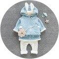 [Bosudhsou.] JH-53 Nuevos Niños Niños Ropa de la muchacha Set Otoño Invierno 2 unids Conjuntos Trajes de Algodón Del Bebé Ropa de Abrigo Con Capucha de conejo
