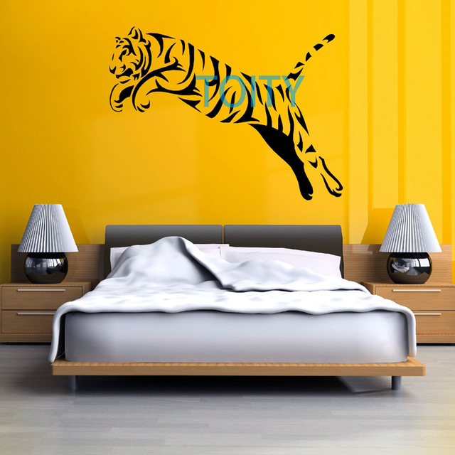 TIGER JUMPING Wall Decal Boy Bedroom Vinyl Sticker Home Art Mural ...