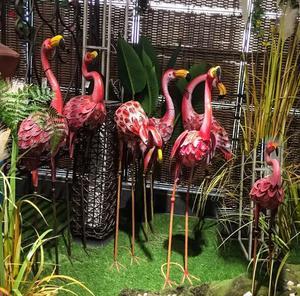 Büyük Nordic düğün ferforje flamingo sahne el sanatları bahçe süslemeleri süsler pencere sahne