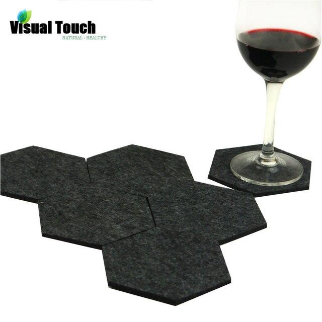 Di Visual Touch confezione da 6 Feltro Tessuto Esagonale Tazza Zerbino Sottobicc