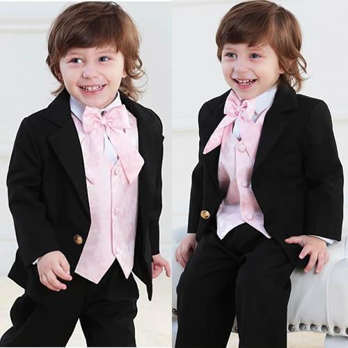 Черные мальчики костюм мальчика торжественная одежда необычные розовый жилет одна кнопка платья костюмы наряды для мальчиков ( куртка + брюки + жилет + галстук ) ZY3468