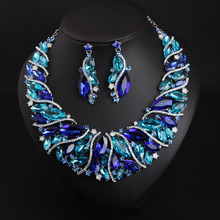 MYDANER Luxury Glass Flower Rhinestone Bridal Wedding Jewelry Sets African Necklace and Earrings Women Party Crystal Jewelry