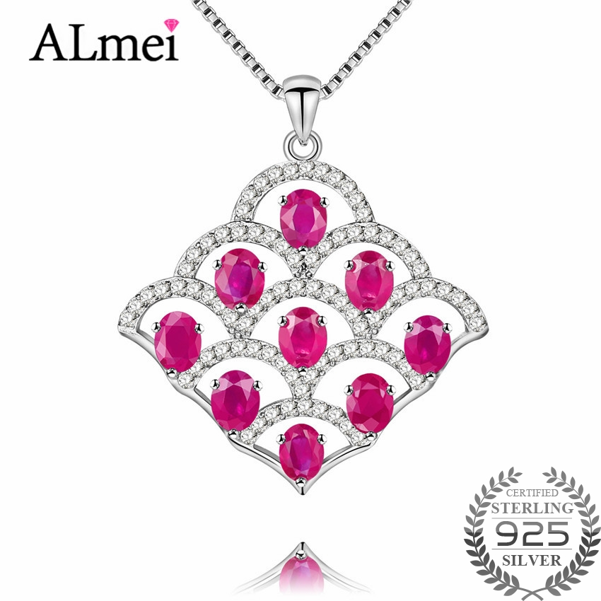 Almei Women 9pcs 0.3ct Ruby Pendant Folding Fan Shape Necklaces Large Pendants Jewelry for Wedding Engagement with Box CN020
