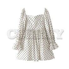 CUERLY women sweet white polka dots empire mini dress 2019 square collar long sleeve side zipper female summer sexy dresses