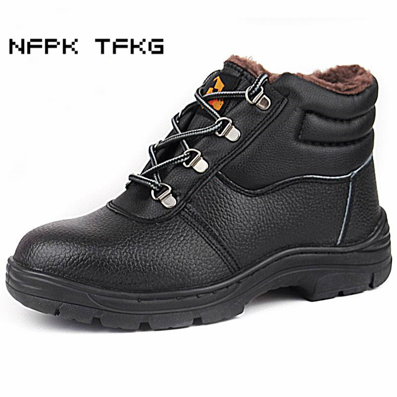 mens fashion black large size steel toe cap working safety shoes genuine leather anti-puncture autumn winter ankle boots zapatos стоимость
