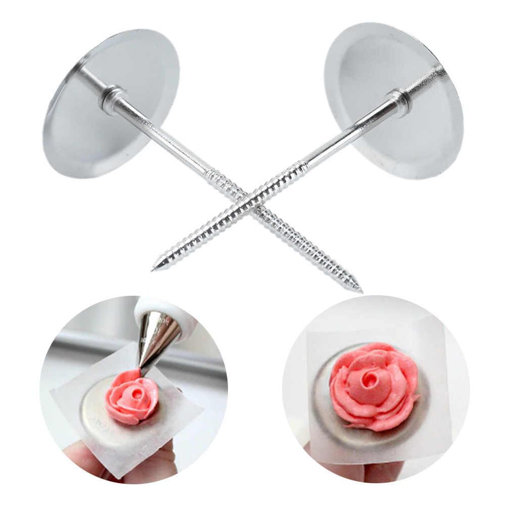 2 piezas de Decoración de Pastel de plata para uñas DIY galletas pasta de azúcar glaseado crema cupcakes soporte de decoración de uñas cocina utensilios para hornear