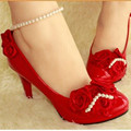 2016 Attractive Cheap Lady's Comfortable(4- 9) Roses Beading Flowers Pointed toe Flattie Wedding shoes Red color 4 heels style