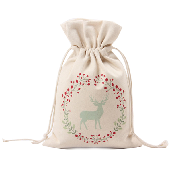 Canvas Christmas Deer Pattern Storage Bag / Drawstring Bag Pocket / Gift Candy Bag