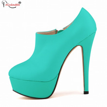 Brand Designers 2016 New Spring Autumn Women Shoes Black High Heels Boots Zip Platform Ankle Boots Size 35-42 SMYNLK-D0104