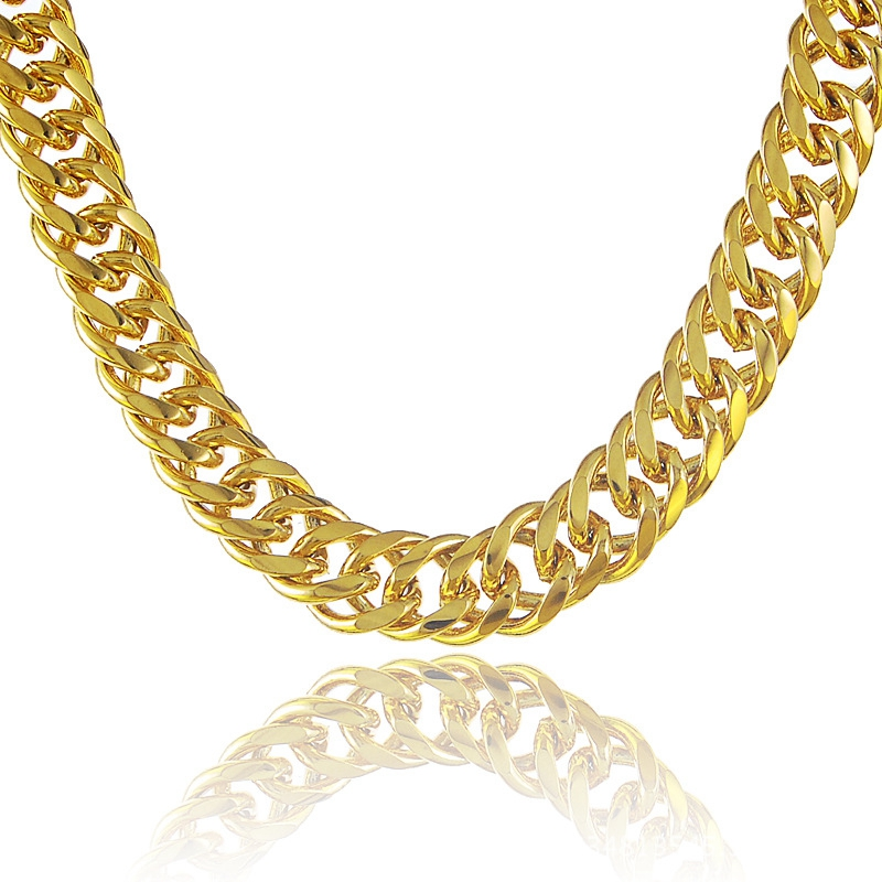 Heavy Massive Mens Double Curb Chain Yellow Gold Filled Chunky ...