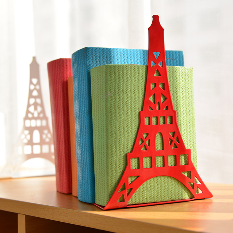 2 Pcs/pair Fashion Eiffel Tower Design Bookshelf Large Metal Bookend Desk Holder Stand For Books Organizer Gift Stationery