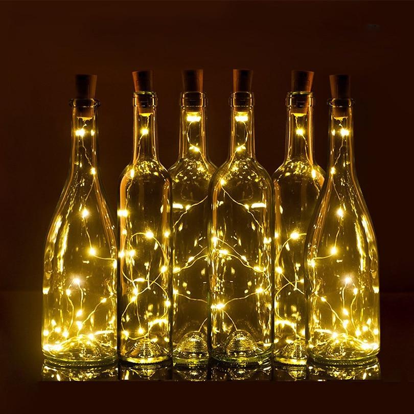75cm 1m 2m Wine Bottle Cork Shaped Led Spark Starry String Lights Christmas Wedding Party Indoor Outdoor Decoration Lights Lamp