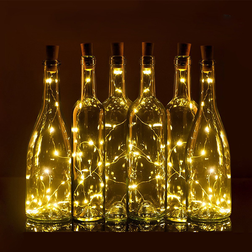 75CM 1M 2M Wine Bottle Cork Shaped led Spark Starry String Lights - Holiday Lighting