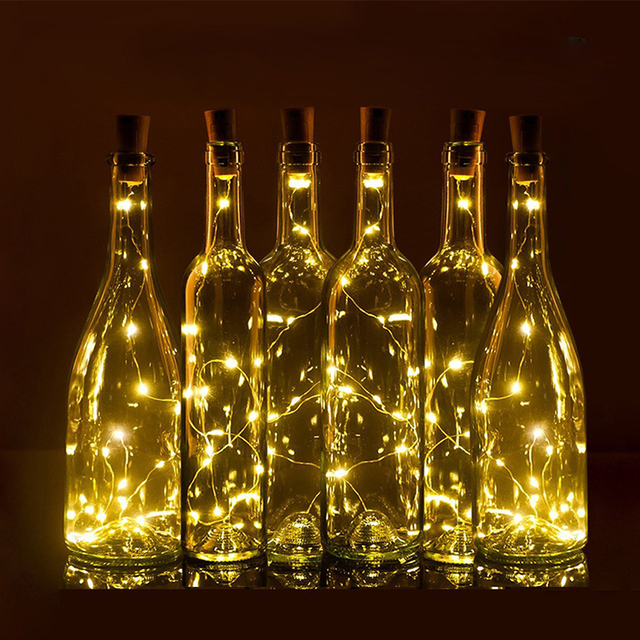 75cm 1m 2m wine bottle cork shaped led spark starry string lights christmas wedding party indoor