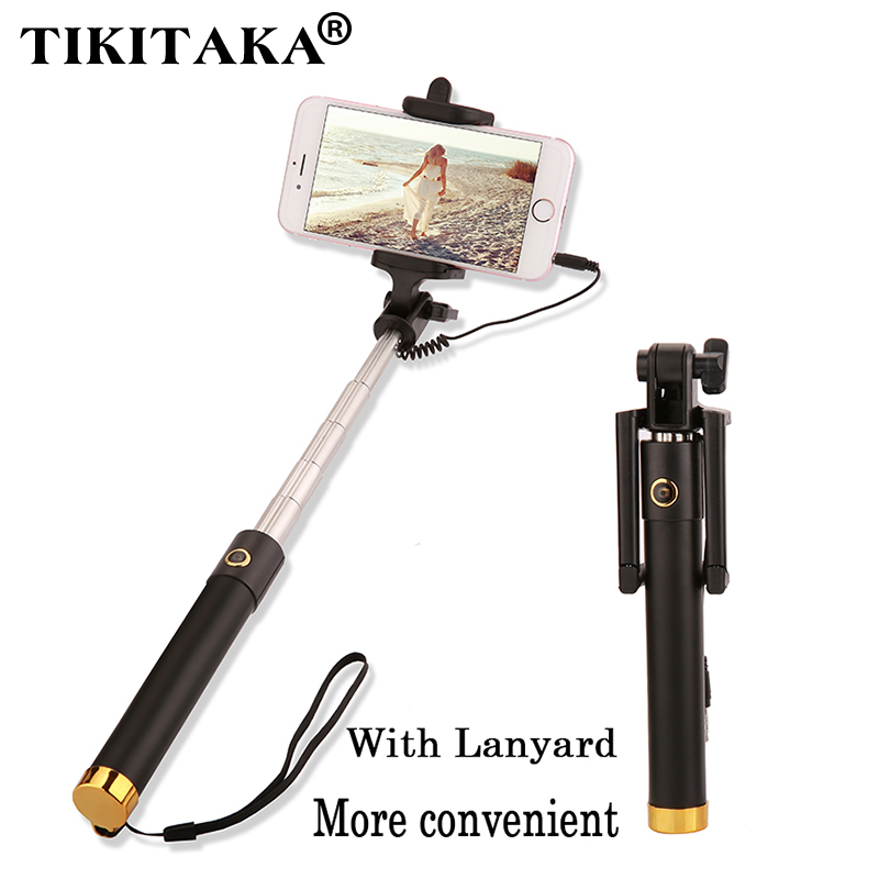 universal extendable selfie stick monopod for iphone samsung android ios portable wired palo. Black Bedroom Furniture Sets. Home Design Ideas