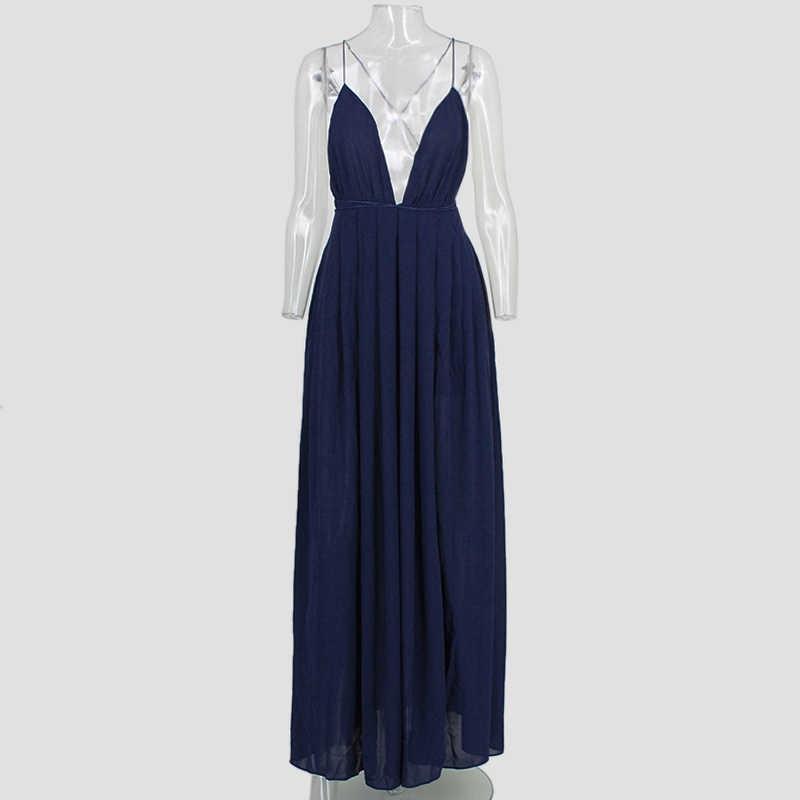 d140322fe5f1b Summer Maxi Dress Women Solid Sexy Deep V-Neck Sleeveless Spaghetti Strap  Backless High Split Long Sundress Vestidos