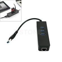 2015 Новый 3-портовый USB 3.0 RJ45 Ethernet Порт Концентратора Адаптер Проводной Сети до 100 Мбит/С