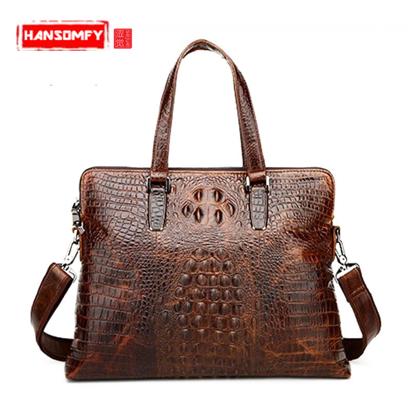 New crocodile embossed leather Men business handbag Crossbody genuine leather briefcase vintage messenger laptop bags цены онлайн