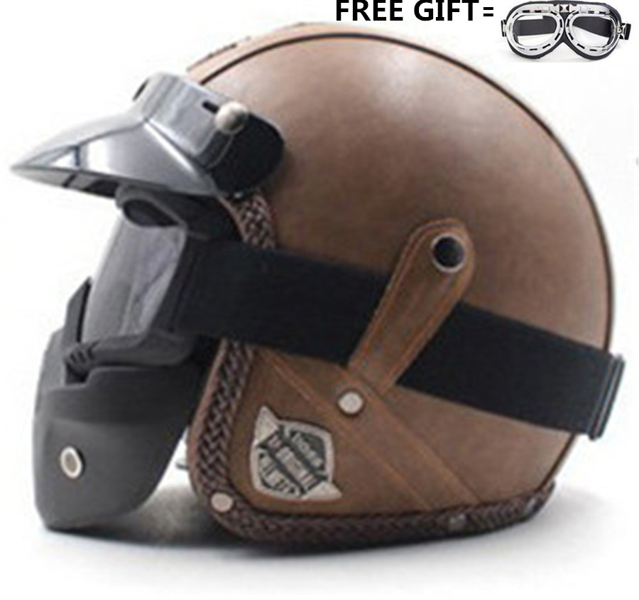 Vintage Design Black Brown Motorcycle Half Face Helmet With Goggles Retro Pu Leather Open Face Cruiser
