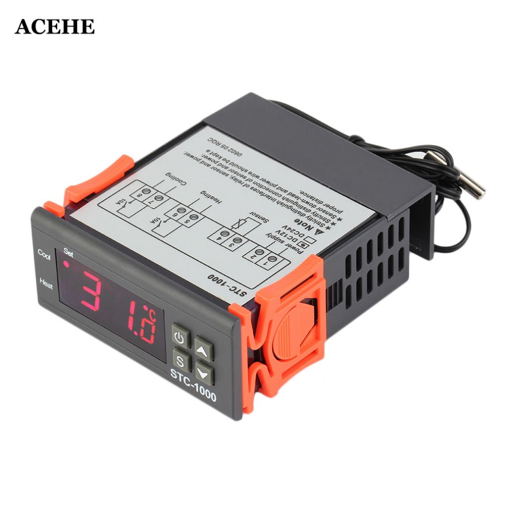 ACEHE 12V/24V DC AC Digital <font><b>Thermometer</b></font> Temperature Controller STC-<font><b>1000</b></font> Thermostat -50~99 <font><b>Degree</b></font> with Sensor Hot Sale Drop Ship image