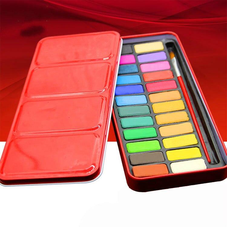 24 cores Pigmento Sólido Conjunto Com Pincel Aquarela Aquarela Tintas Conjunto Pigmento material de Arte