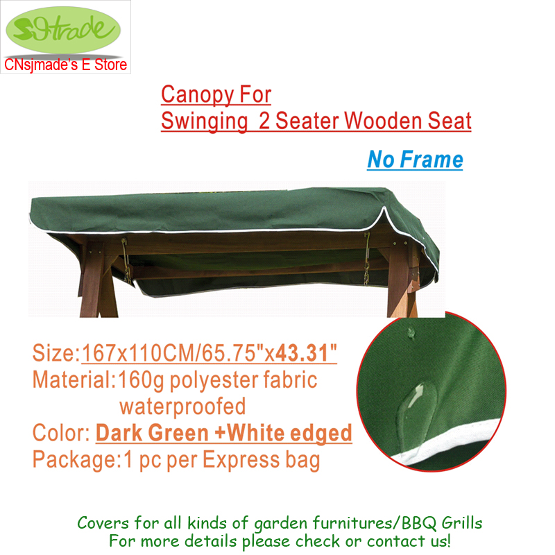 Us 23 88 Canopy For 2 Seater Wooden Swing Roof Fabric Of Wooden Garden Hammock Swing Seat 65 75