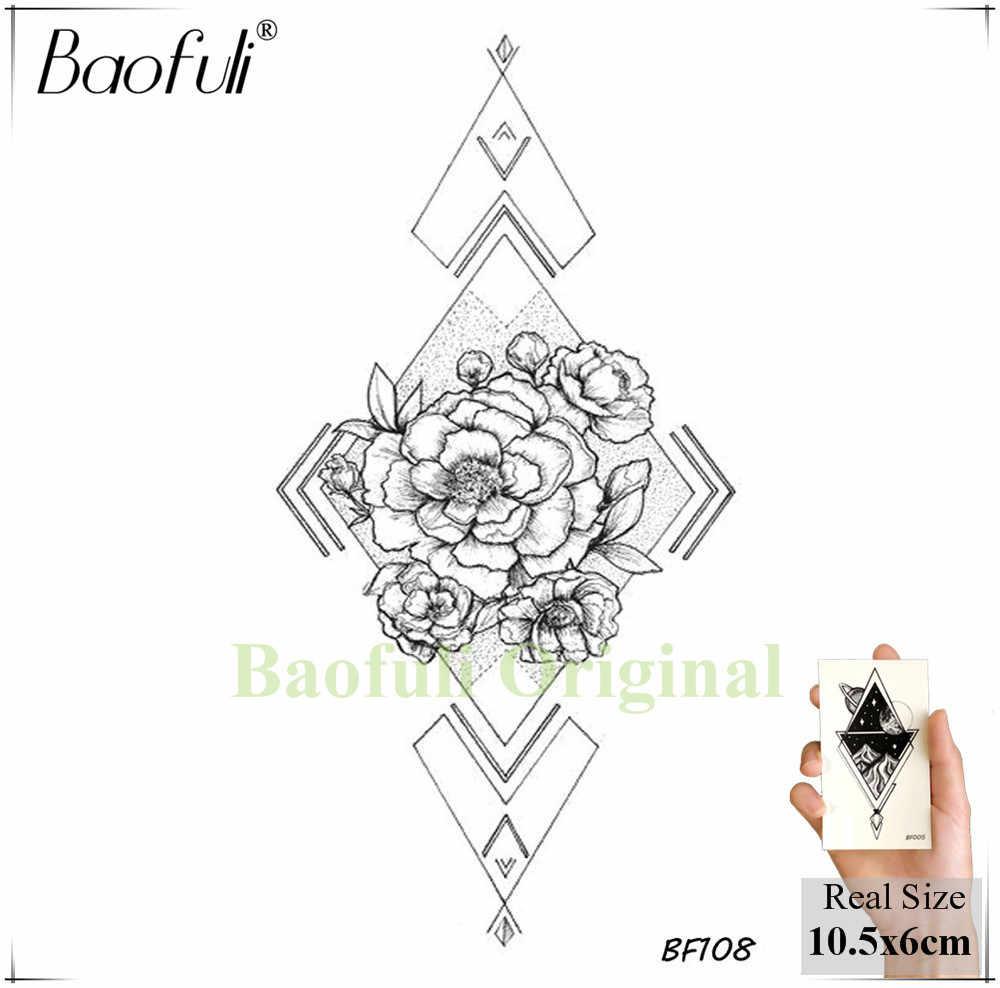 Baofuli Schizzo Geometrica Rhombus Rosa Del Tatuaggio Temporaneo Falso Del Fiore Catena di Tatoo Adesivo Nero Body Art Pittura Tatuaggi Braccio Al Collo