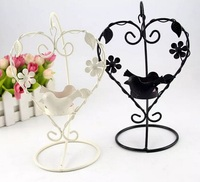 2pcs Iron Heart Birds Candle Stick Candleholder TeaLight Holder Wedding Home Decor