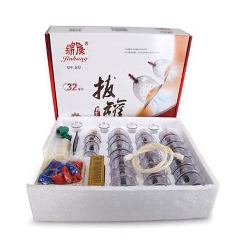 32 pièces Cans coupes vide chinoise ventouses kit sortir un appareil à vide thérapie se détendre massage courbe aspiration pompes
