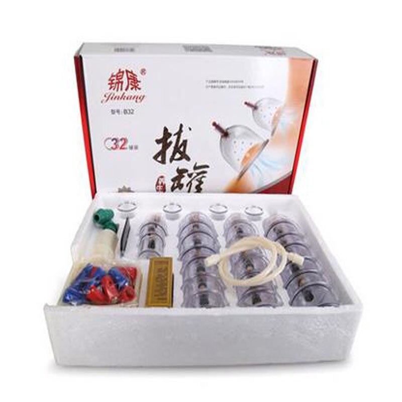 32 pieces פחיות כוסות סיני ואקום כוסות רוח ערכת לשלוף ואקום מנגנון טיפול להירגע מעסים עקומת יניקה משאבות