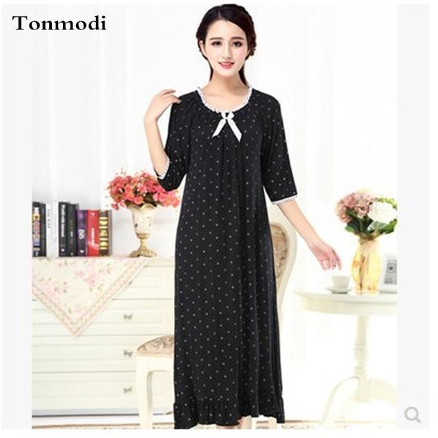 2016 Novas Camisolas Para Mulheres Modal Solto Longa Camisola Princesa Vestidos de Noite Modal Camisola