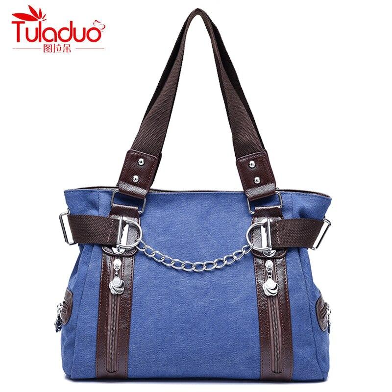 High Quality Canvas Women Handbags Double Zipper Chains Women Shoulder Bags Fashion Patchwork Designer Womens Top-Handle Bags
