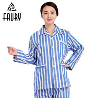 Women Cotton Costume Gown Hospital Patient Long Sleeve Suit Collar Striped Single Breasted with Pockets Tops Pants Clothes Sets