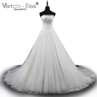 VARBOO ELSA 2017 New White Lace Romantic Wedding Dresses Sexy Strapless Bridal Ball Gown Lace Embroidering