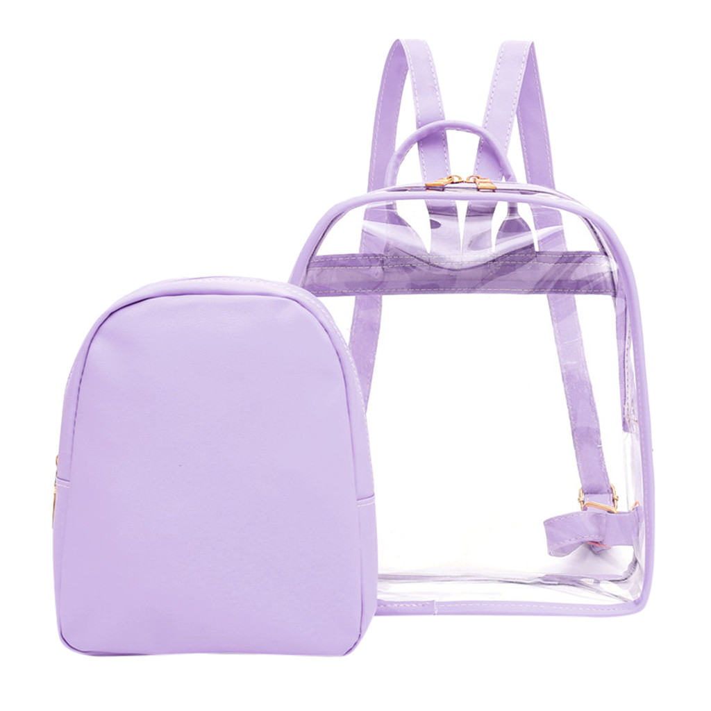 2 In 1 Backpack Women Cute Clear Mini Female Backpack Transparent School Bag For Girls Teenagers Zipper Candy Colors Cute Bags