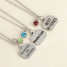 Fashion Jewelry Stainless steel heart letter WITCH with birthstone Charm Pendant Necklace women tag Necklace Love Gifts