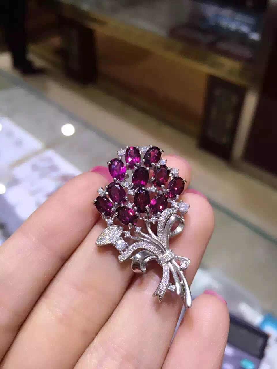 Garnet merah alami bros S925 perak Alami batu permata bros Pendant trendy bunga wanita Elegan dua memakai partai perhiasan
