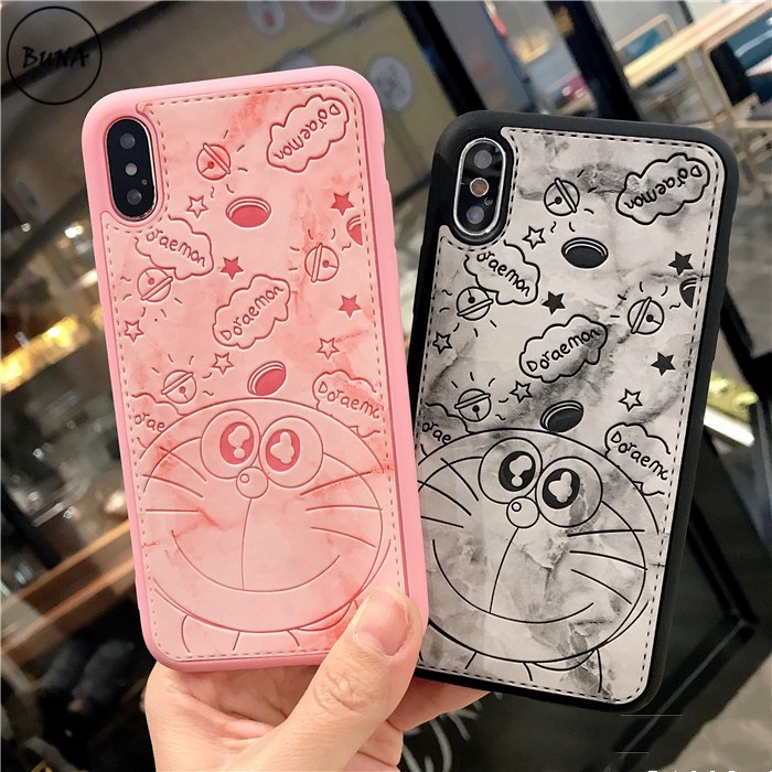 Cartoon silicon+leather Case Case For iPhone X 6 6s plus 7 7plus 8 8plus case 3D Stitch Doraemon Silicon full coverage protector