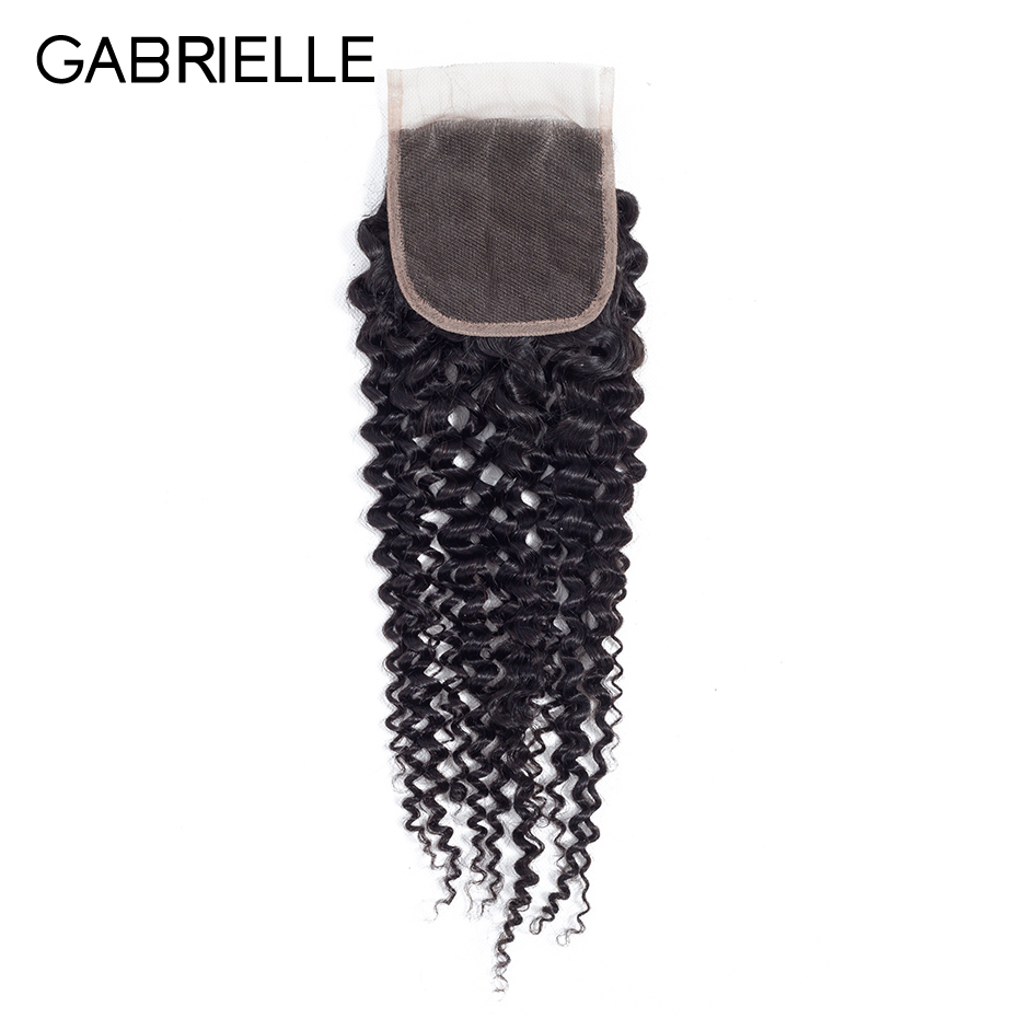 Gabrielle Curly Closure Human-Hair Lace Swiss Kinky Natural-Color 8-22inch Malaysian