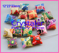 50pcs/Lot, Free Shipping Good Quality Assorted Colors 12*23mm Square Pillow Polymer Clay Beads