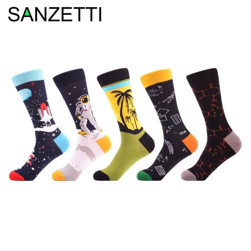 SANZETTI 5 pair/lot Man Colorful Funny Printing   Socks   Breathable Spring Autumn   Socks   Happy   Socks