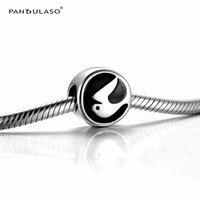 Pandulaso Argent Perles pour La Fabrication de Bijoux Noir Émail Paix Colombe Oiseau Charmes DIY Bijoux Fit Original Argent Charmes Bracelets